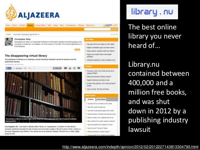 The best online library you never heard of… Library.nu contained between 400,000 and a million free books, and was shut do...