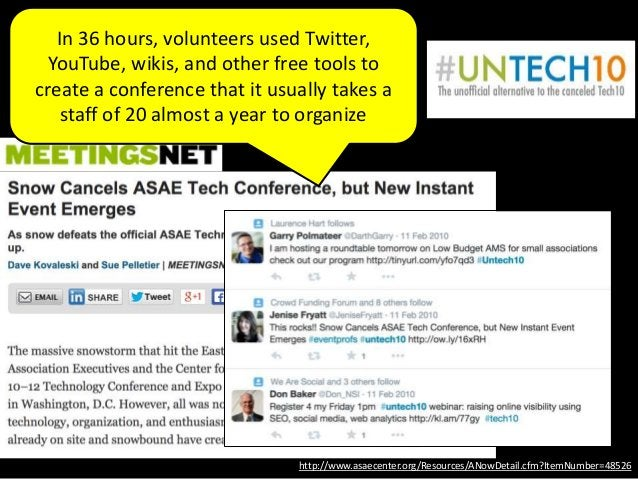In 36 hours, volunteers used Twitter, YouTube, wikis, and other free tools to create a conference that it usually takes a ...