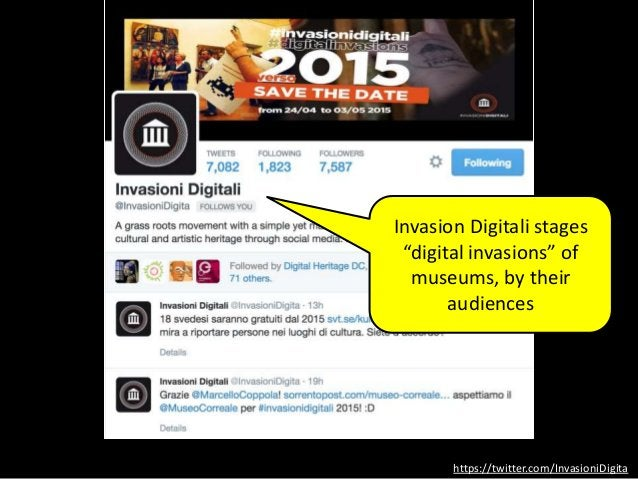 """https://twitter.com/InvasioniDigita Invasion Digitali stages """"digital invasions"""" of museums, by their audiences"""