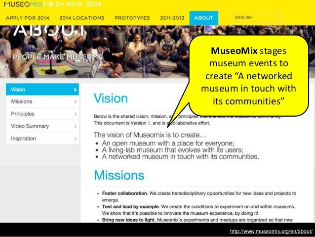 """http://www.museomix.org/en/about/ MuseoMix stages museum events to create """"A networked museum in touch with its communitie..."""