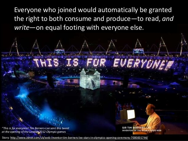 """""""This is for everyone! Tim Berners-Lee sent this tweet at the opening of the London 2012 Olympic games Everyone who joined..."""