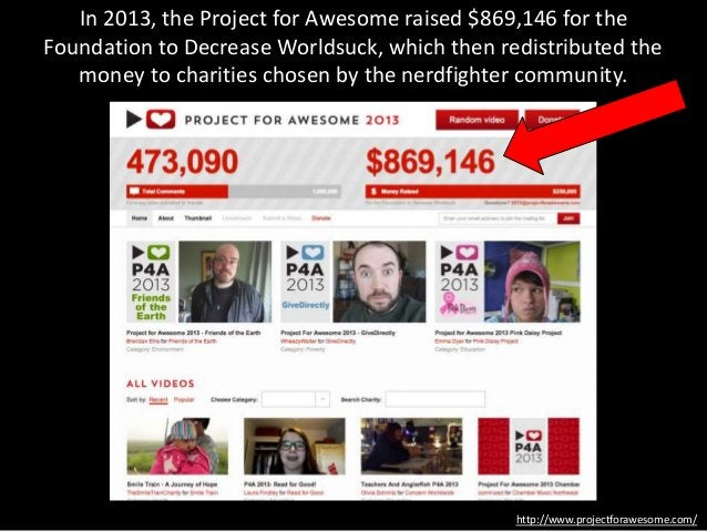 In 2013, the Project for Awesome raised $869,146 for the Foundation to Decrease Worldsuck, which then redistributed the mo...