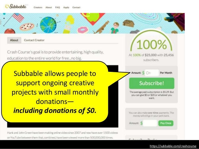 Subbable allows people to support ongoing creative projects with small monthly donations— including donations of $0. https...