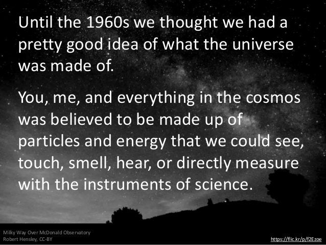 Until the 1960s we thought we had a pretty good idea of what the universe was made of. You, me, and everything in the cosm...