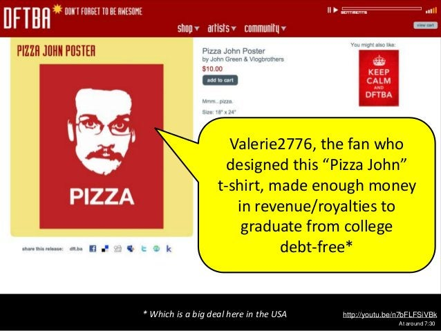 """http://youtu.be/n7bFLFSiVBk At around 7:30 Valerie2776, the fan who designed this """"Pizza John"""" t-shirt, made enough money ..."""