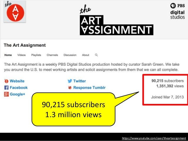 https://www.youtube.com/user/theartassignment 90,215 subscribers 1.3 million views