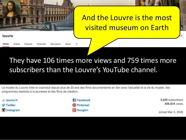 And the Louvre is the most visited museum on Earth They have 106 times more views and 759 times more subscribers than the ...
