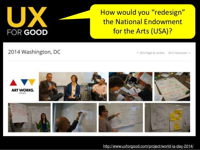 """http://www.uxforgood.com/project/world-ia-day-2014/ How would you """"redesign"""" the National Endowment for the Arts (USA)?"""