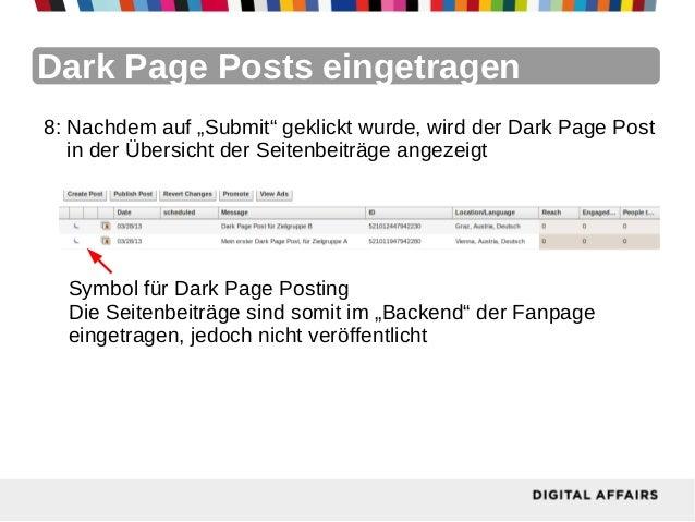 """Dark Page Posts eingetragen8: Nachdem auf """"Submit"""" geklickt wurde, wird der Dark Page Post   in der Übersicht der Seitenbe..."""