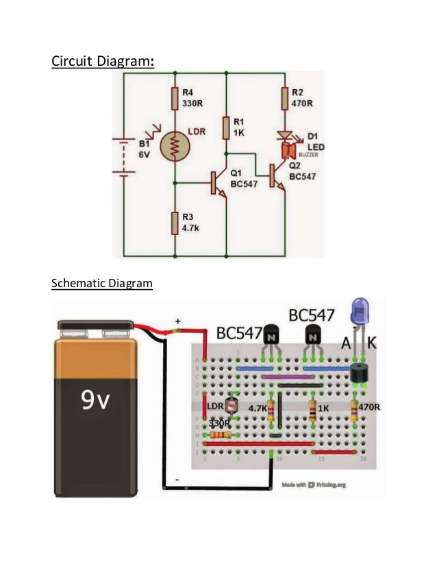 Dark sensor using LDR on breadboard