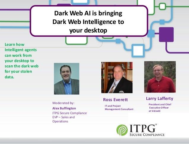 © 2012 Veloxiti™ Dark Web AI is bringing Dark Web Intelligence to your desktop Ross Everett Larry Lafferty President and C...