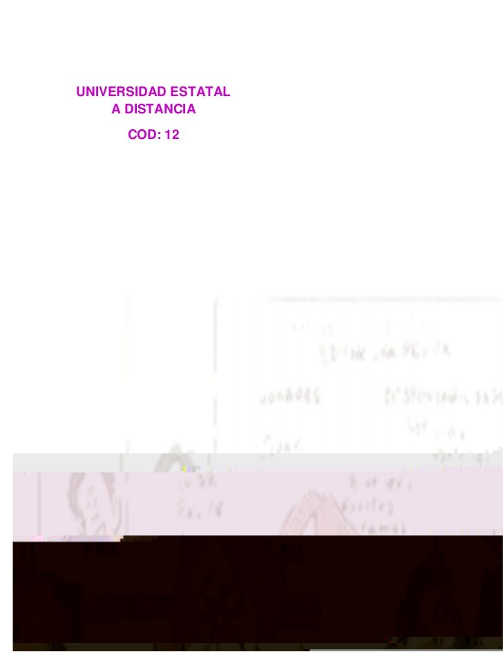 UNIVERSIDAD ESTATAL    A DISTANCIA      COD: 12