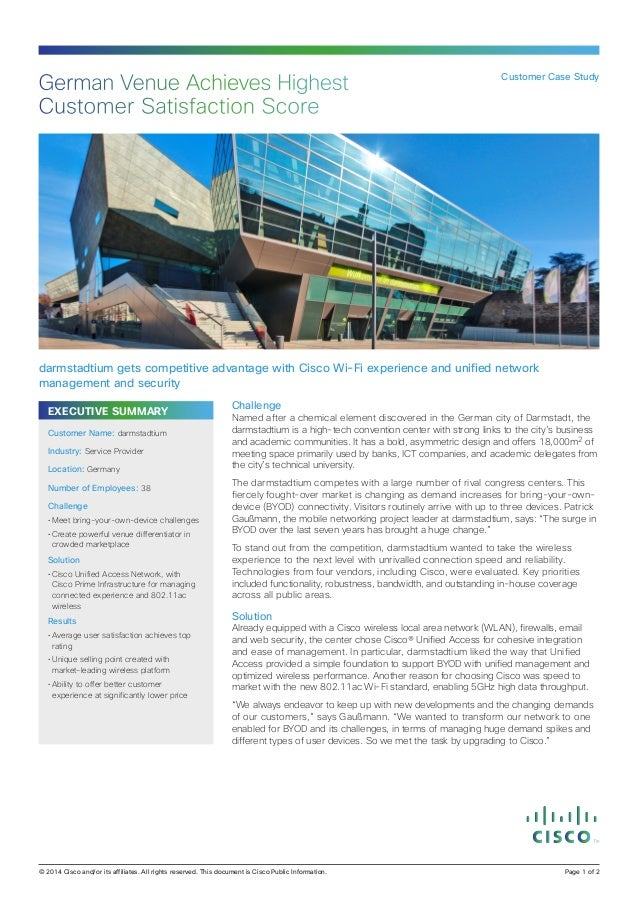 EXECUTIVE SUMMARY Challenge Named after a chemical element discovered in the German city of Darmstadt, the darmstadtium is...