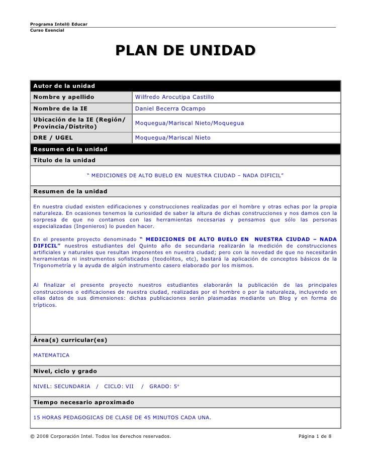 Programa Intel® Educar Curso Esencial                                      PLAN DE UNIDAD   Autor de la unidad  Nombre y a...