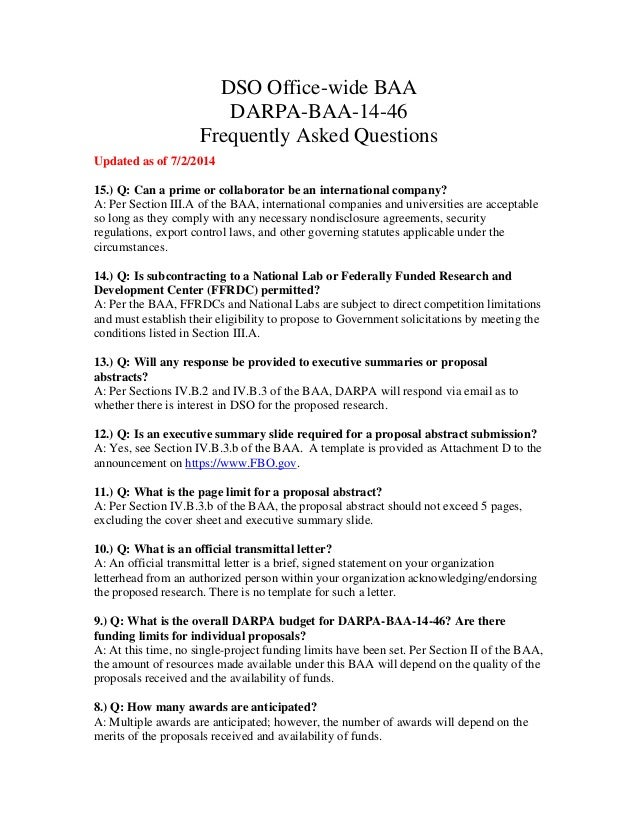 DSO Office Wide BAA DARPA BAA 14 46 Frequently Asked Questions Updated ...