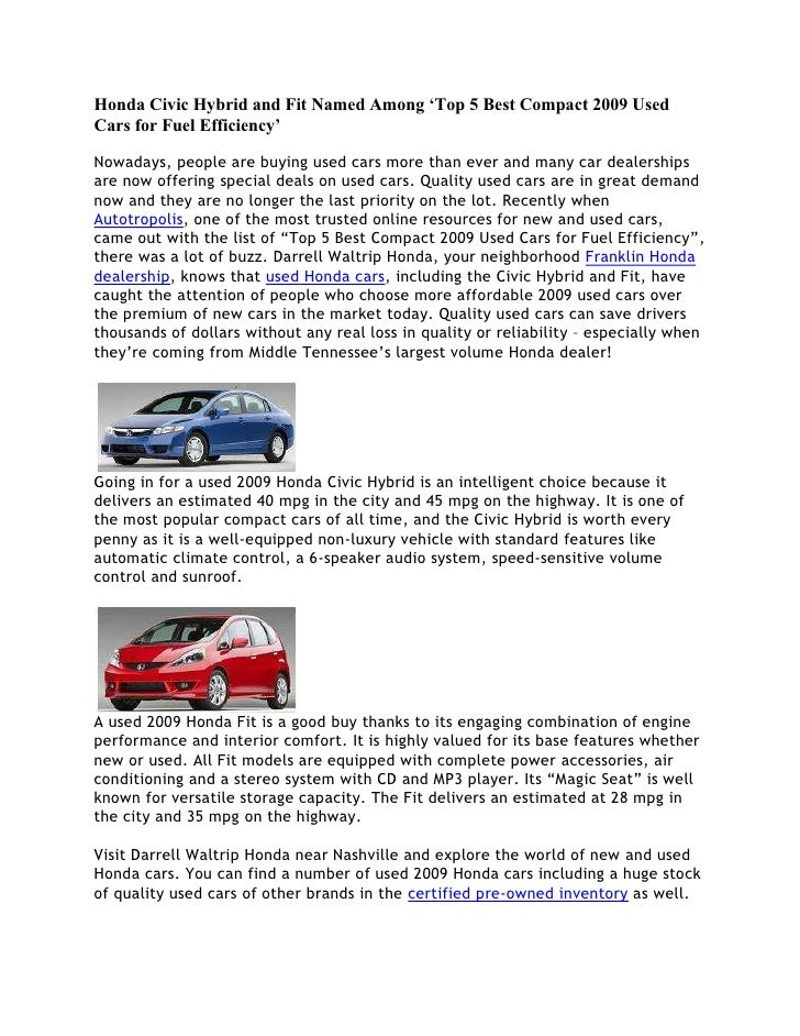 Honda Civic Hybrid and Fit Named Among \'Top 5 Best Compact 2009 Used …