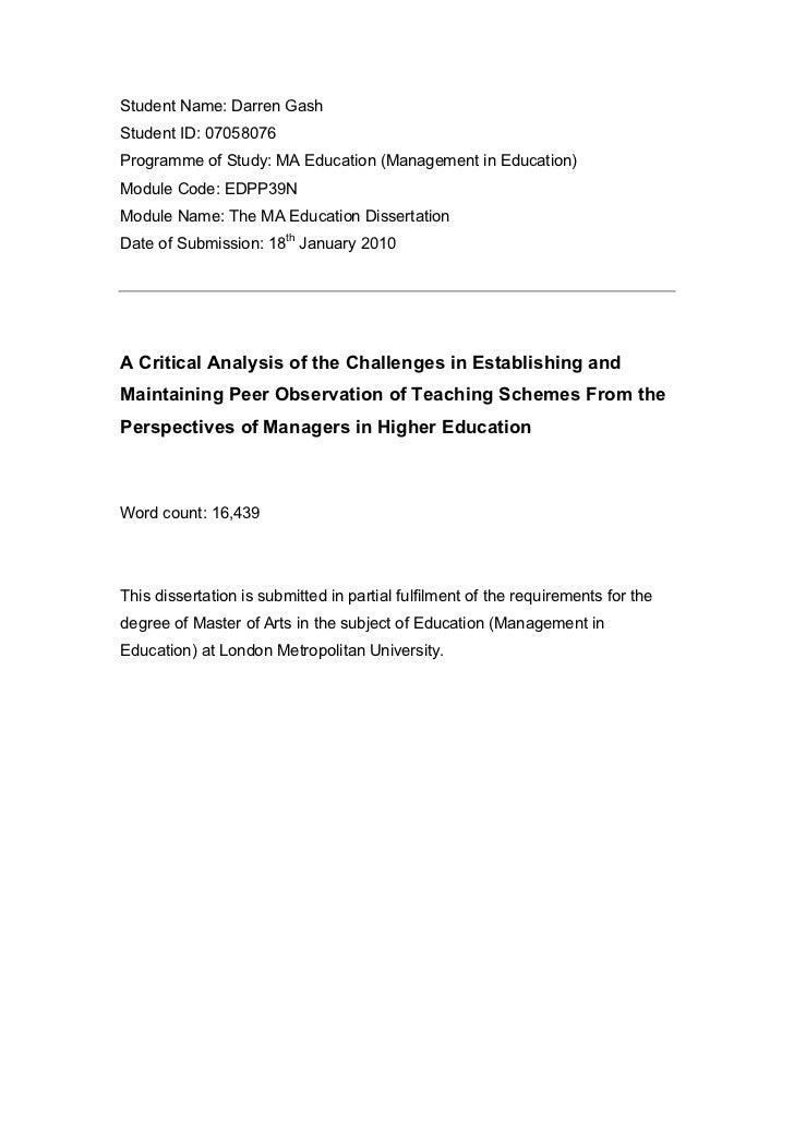 Student Name: Darren GashStudent ID: 07058076Programme of Study: MA Education (Management in Education)Module Code: EDPP39...