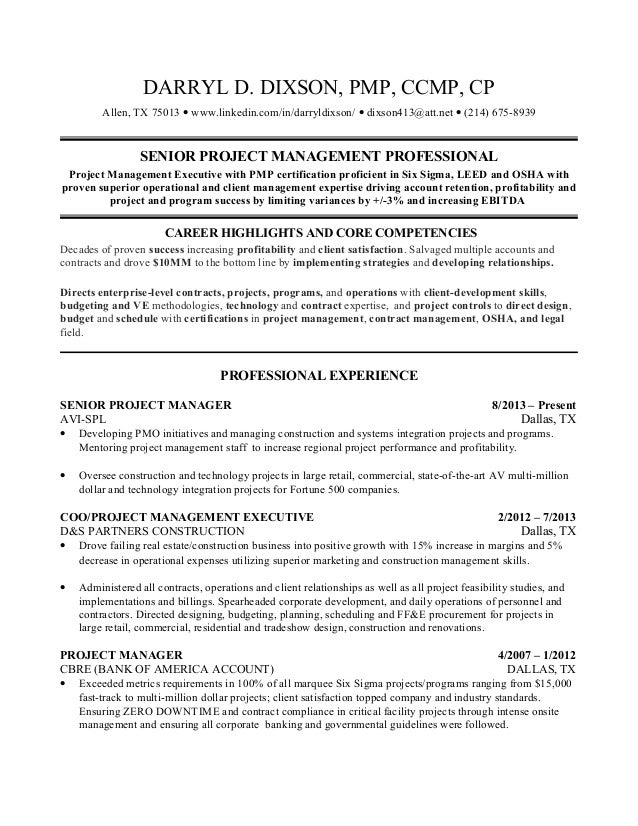 darryl dixsonresume project professional