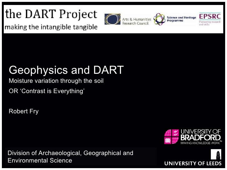 Geophysics and DART Moisture variation through the soil  OR 'Contrast is Everything' Robert Fry Division of Archaeological...