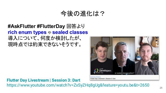 25 Flutter Day Livestream | Session 3: Dart https://www.youtube.com/watch?v=ZxSyZHq8gUg&feature=youtu.be&t=2650 #AskFlutte...