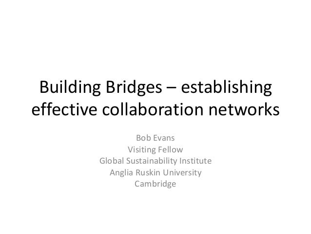 Building Bridges – establishing effective collaboration networks Bob Evans Visiting Fellow Global Sustainability Institute...
