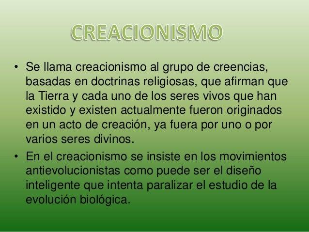 Teorías Creacionistas y Evolucionistas