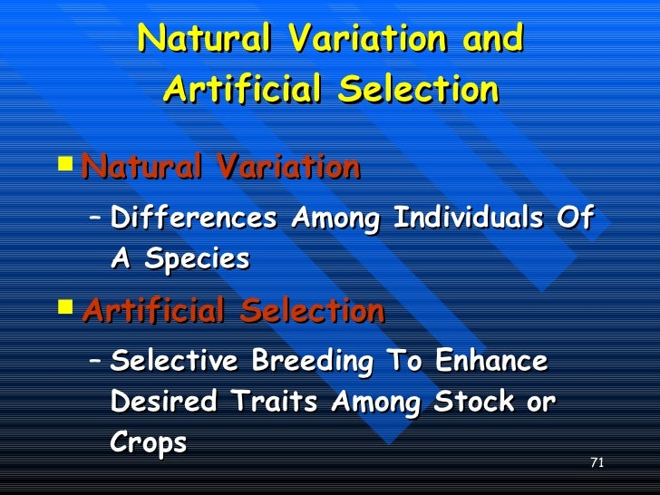 Compare And Contrast The Processes Of Artificial And Natural Selection