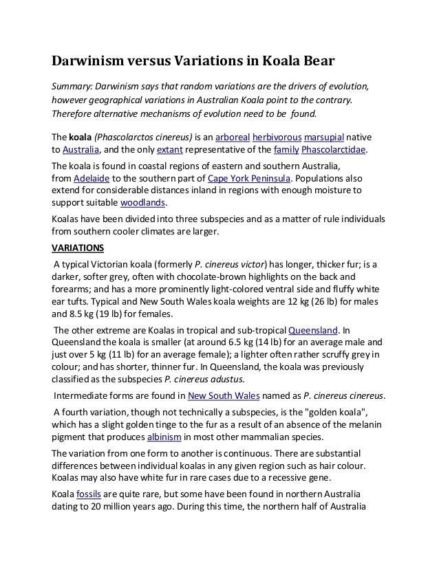Darwinism versus Variations in Koala BearSummary: Darwinism says that random variations are the drivers of evolution,howev...