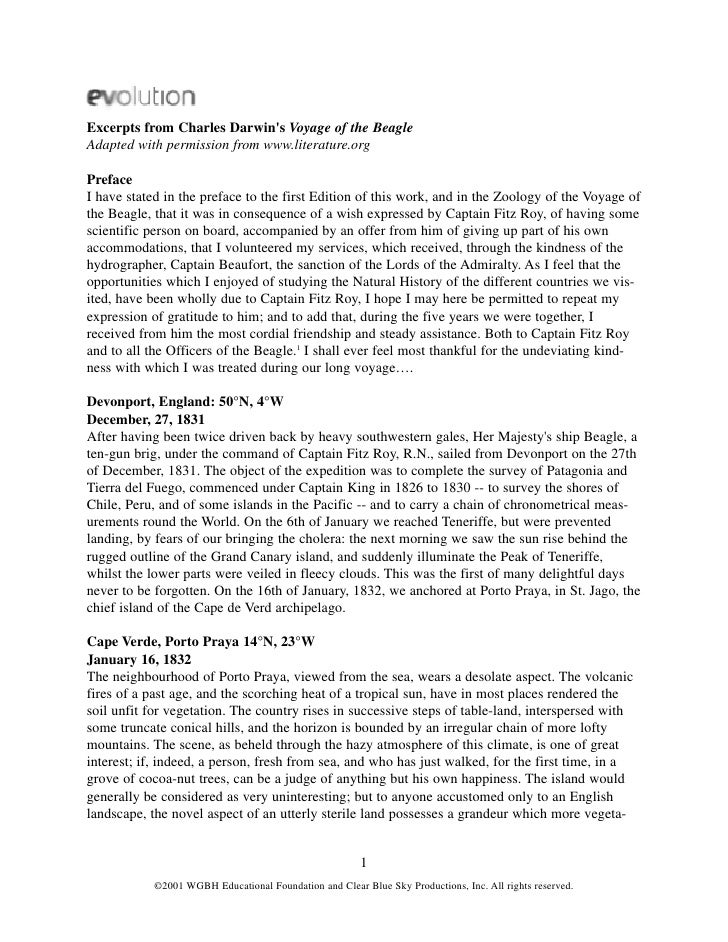 Excerpts from Charles Darwins Voyage of the BeagleAdapted with permission from www.literature.orgPrefaceI have stated in t...