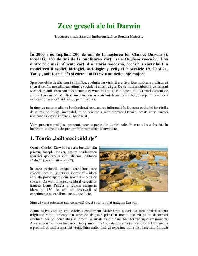 Zece greşeli ale lui Darwin Traducere şi adaptare din limba engleză de Bogdan Mateciuc  În 2009 s-au împlinit 200 de ani d...