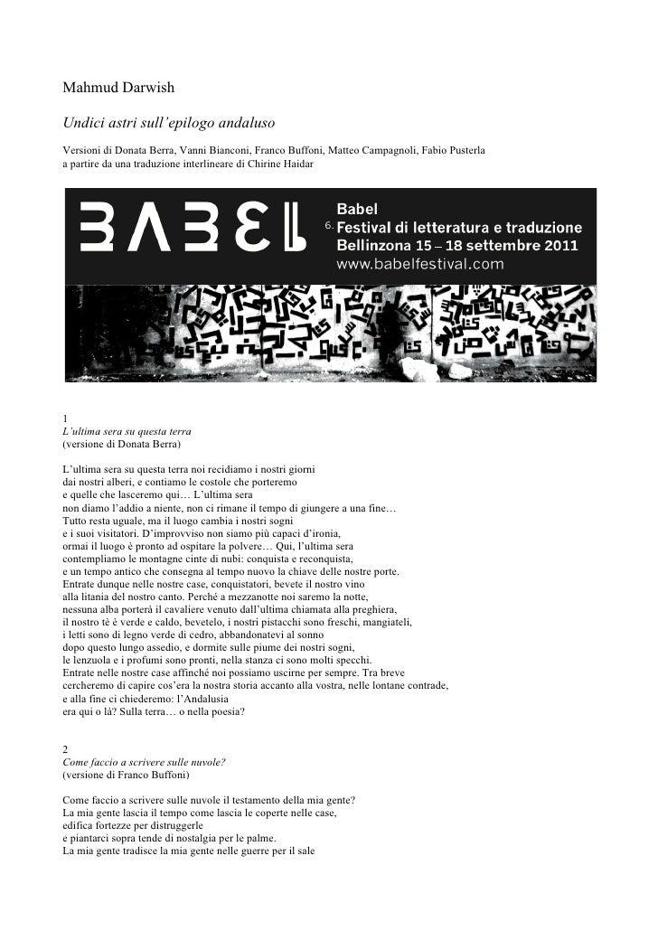 Mahmud DarwishUndici astri sull'epilogo andalusoVersioni di Donata Berra, Vanni Bianconi, Franco Buffoni, Matteo Campagnol...
