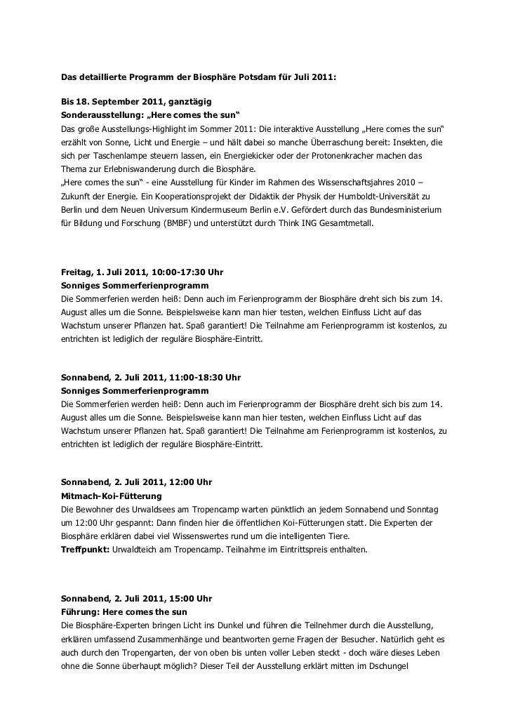 """Das detaillierte Programm der Biosphäre Potsdam für Juli 2011:Bis 18. September 2011, ganztägigSonderausstellung: """"Here co..."""