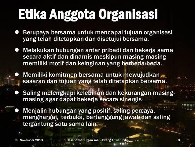 Dasar-dasar organisasi.