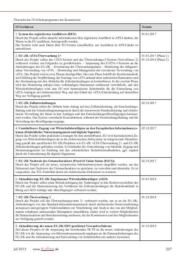 Beiträge · Aufsätze · Berichte 238 www. .de Juli 2015 IT-Verfahren Termin 9. EU-ZK Automatisiertes Ausfuhrsystem (AES) Zie...