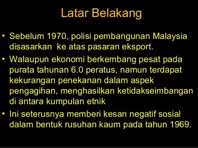 dasar ekonomi baru Dasar ekonomi baru (deb) merupakan satu program sosioekonomi di malaysia  yang diperkenalkan dalam rancangan malaysia ketiga (1976-1981) oleh.