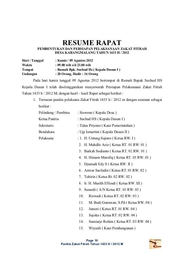 Laporan Pelaksanaan Zakat 1433 H Dusun I Dan Ii