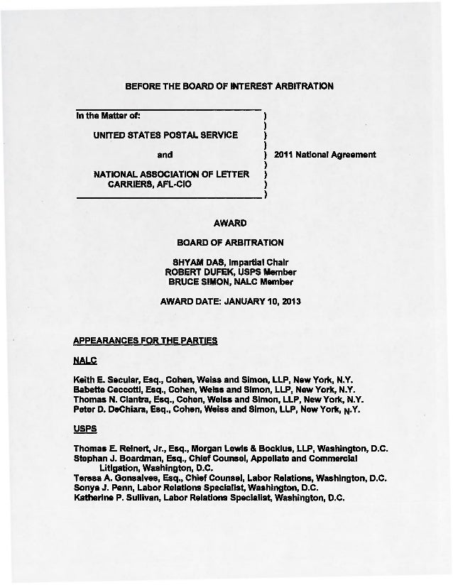 BEFORE THE BOARD OF INTEREST ARBITRATION  In the Matter of:  )  UNITED STATES POSTAL SERVICE and NATIONAL ASSOCIATION OF L...