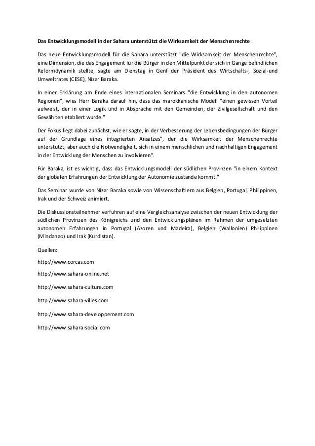 Das Entwicklungsmodell in der Sahara unterstützt die Wirksamkeit der Menschenrechte Das neue Entwicklungsmodell für die Sa...