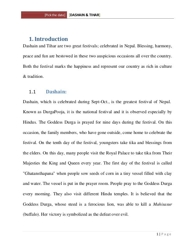 Essay on dashain and tihar