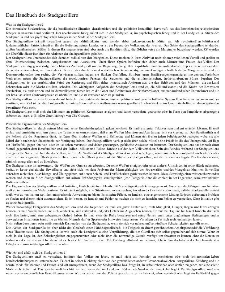 Das Handbuch des StadtguerilleroWas ist ein Stadtguerillero?Die chronische Strukturkrise, die die brasilianische Situation...