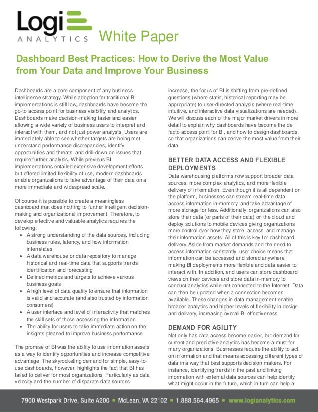 White Paper Dashboard Best Practices: How to Derive the Most Value from Your Data and Improve Your Business Dashboards are...