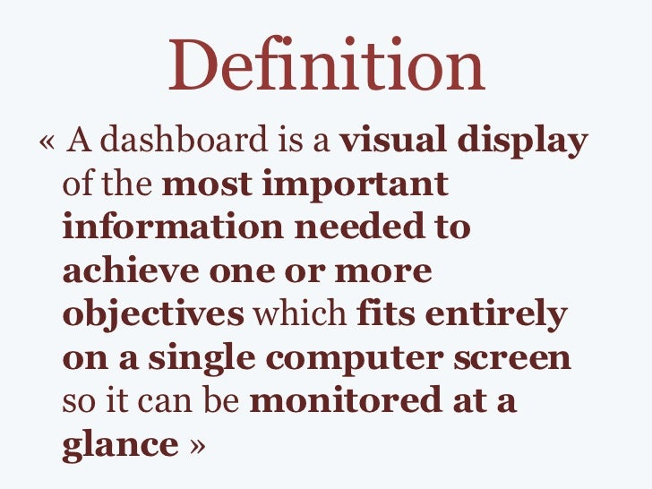 Dashboard - definition, examples