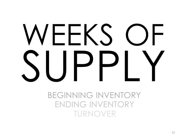WEEKS OF SUPPLY  BEGINNING INVENTORY    ENDING INVENTORY        TURNOVER                         12