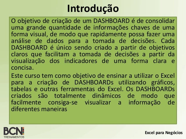 Curso Dashboard em Excel  Versão 2.0 Slide 2