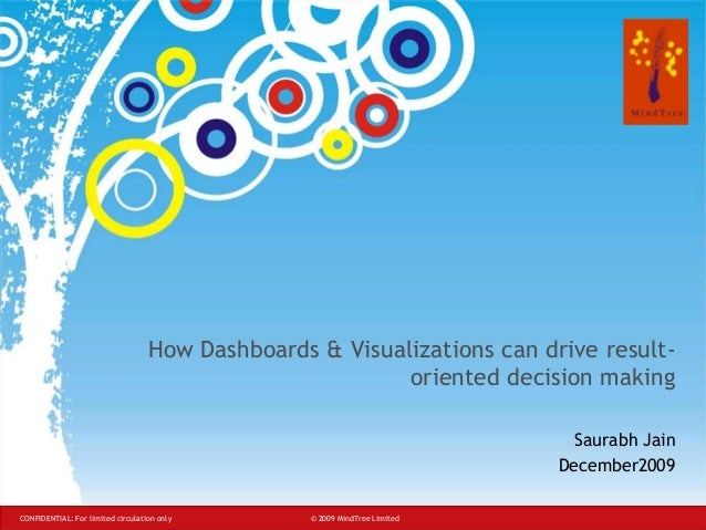 How Dashboards & Visualizations can drive resultoriented decision making Saurabh Jain December2009 CONFIDENTIAL: For limit...