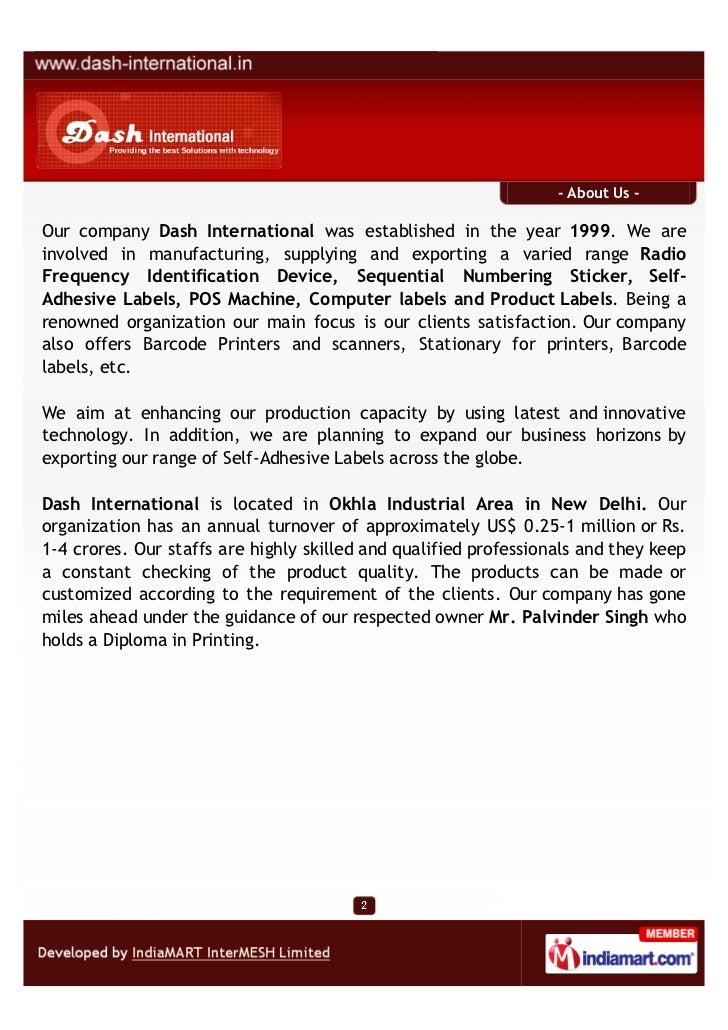 Dash International, New Delhi,  Radio Frequency Identification Devices Slide 2