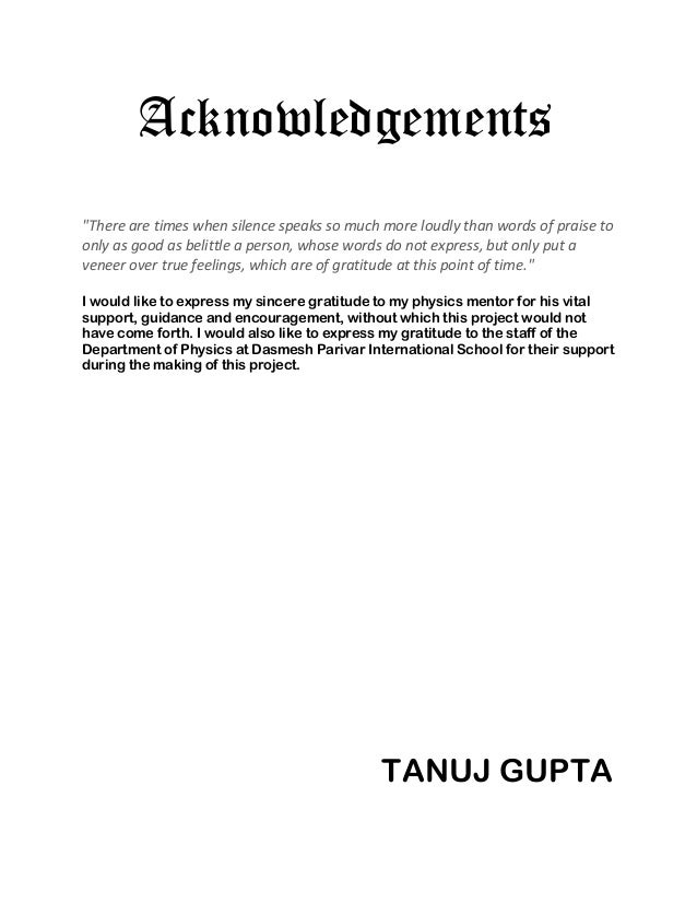 acknowledgement for project pdf
