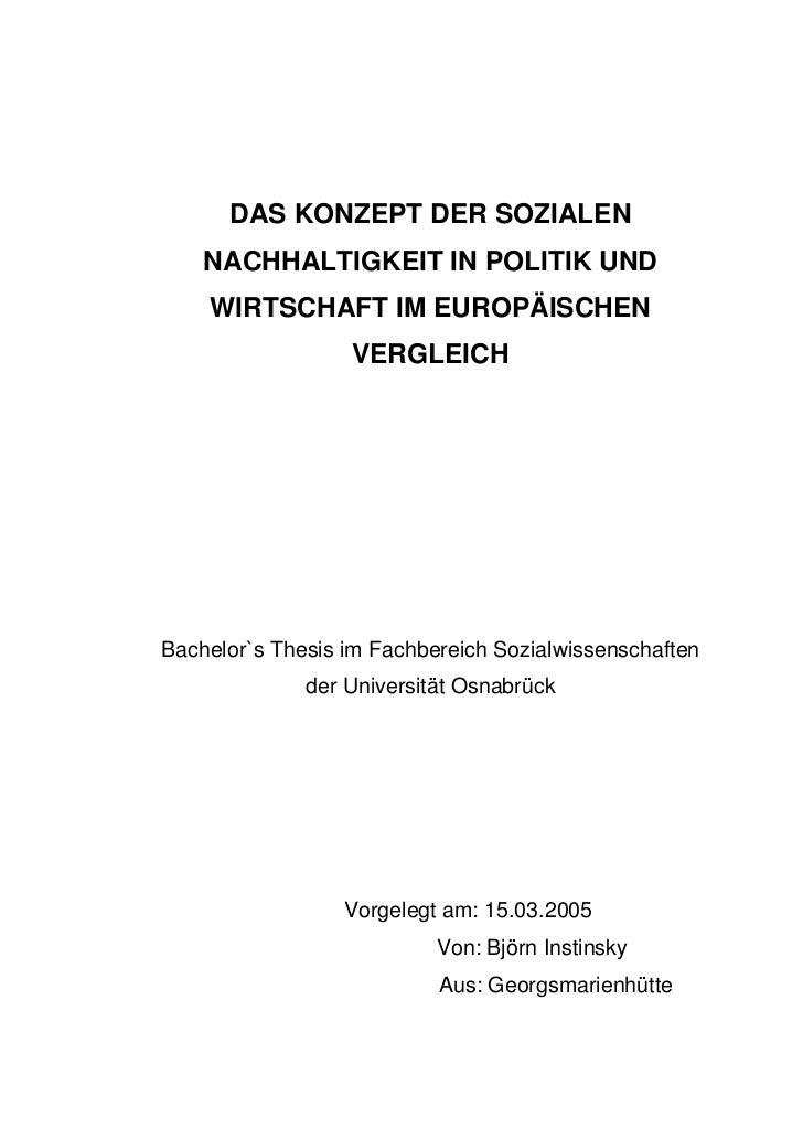 DAS KONZEPT DER SOZIALEN    NACHHALTIGKEIT IN POLITIK UND    WIRTSCHAFT IM EUROPÄISCHEN                  VERGLEICHBachelor...