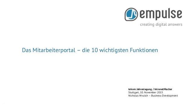 creating digital answers Seite 1 creating digital answers tekom Jahrestagung / IntranetMacher Stuttgart, 10. November 2015...