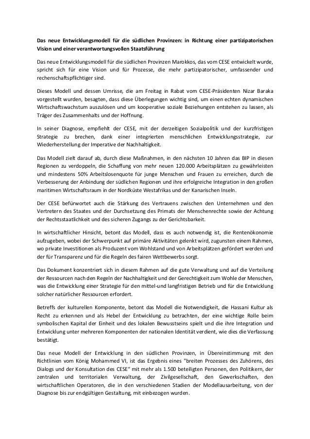 Das neue Entwicklungsmodell für die südlichen Provinzen: in Richtung einer partizipatorischen Vision und einer verantwortu...